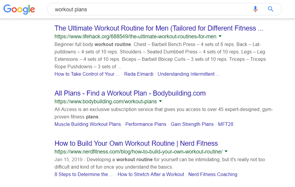 Workout plans Google search