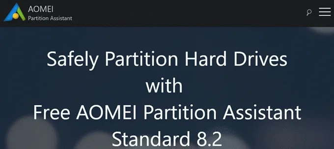 AOMEI partition assistant tool