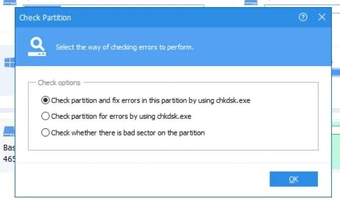 click fix errors in partition