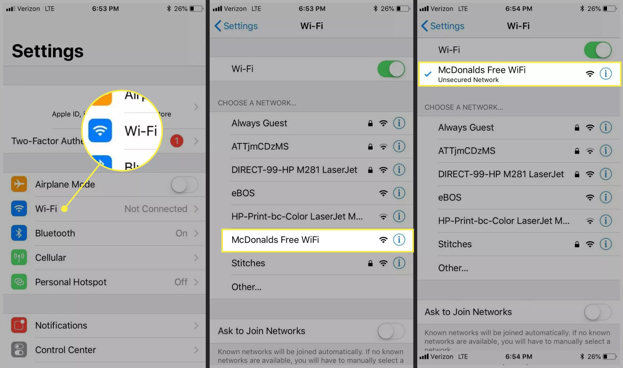 McDonald's wireless WiFi
